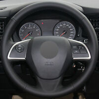 Black Leather Car Steering Wheel Cover for Mitsubishi Outlander Mirage ASX L200