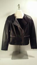 2626ecf05c0b Women APT. 9 Black Faux Leather Quilted Lined Moto Jacket Coat MED Full Zip  NICE