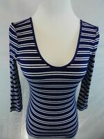 NEW Express One Eleven Womens Small Petite Blue Scoop Neck Top 3/4 Sleeve