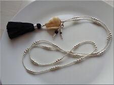 Neu lange Kette große Muschel Onyx Quaste Handarbeit Handmade Unikat