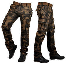Mens Camouflage Army Trousers Leisure Cotton Pants Cargo Trousers with Belt IT09...