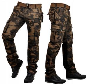 Herren Camouflage Army Hose Freizeit Baumwoll Pants Cargohose mit Gürtel IT096