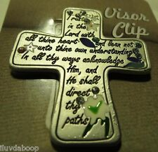 Pewter Cross Car Visor Clip Trust in the Lord