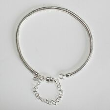 "CHARM BRACELET-19cm-7.5""-3mm-MAGNETIC CLASP Solid 925 sterling silver European"