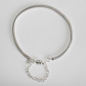 "CHARM BRACELET-19cm-7.5""-3mm-MAGNETIC CLASP Solid 925 sterling silver European"