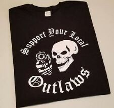Support your local Outlaws Biker Motorcycle MC Skull tee t shirt tee outlaw XL