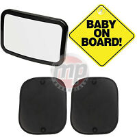 Baby on Board Sign, Window Sun Shades & Child Car Seat Mirror - Car Safety Kit