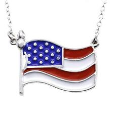 4th of July Patriotic Red White Blue American US Flag Necklace Pendant Charm a1