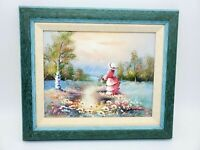 Vintage Framed Oil Painting Impressionist Victorian Woman by lake 11 x 13 Signed