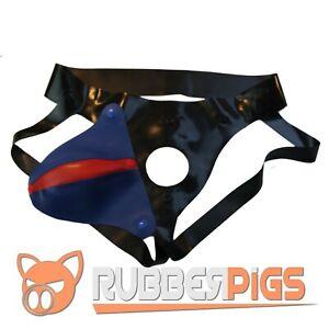 Rubber Codpiece Jockstrap, premium thick rubber, detachable blue and red pouch
