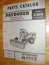 International Hough D-100B PARTS MANUAL BOOK CATALOG PAYDOZER WHEEL BULLDOZER