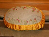 Vintage Large Boudoir Pillow Cushion Embroidered Swan Gathered Sides Art Deco