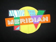MERIDIAN TV T SHIRT Retro 1980s Logo Black Tee EUC Adult Medium