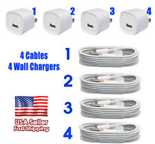 4 x OEM iPhone 6 6S 5 6 Plus Charging/Sync Cable + 4 x 1a USB Wall Charger iOS9