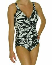 Miraclesuit One Piece Sz 16 Black White Oceanus Swimsuit Ruched Swimwear  450488