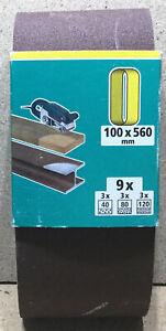 Wolfcraft 9 Gewebe- Schleifbänder K 40 80 120 , 100 x 560mm   1933100