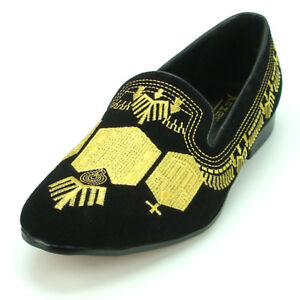 FI-7152 Black Suede with Gold Embroidery Fiesso by Aurelio Garcia Suede Slip on