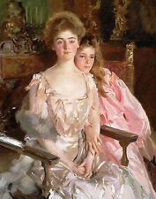 Victorian Era Mother & Daughter Beautiful Dresses Painting Real Canvas Art Print