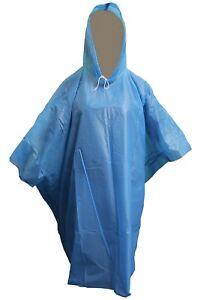 Adult Size Lightweight Emergency Pocket Rain Poncho in Sky Blue One Size