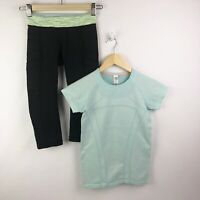 Ivivva by Lululemon Girls Size 8 10 Fly Tech SS Tee Top Crop Leggings Outfit Set