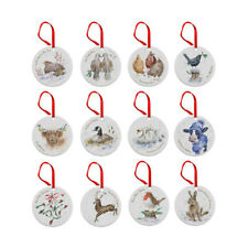 Wrendale 12 Days of Christmas Set of 12 Christmas Tree Decorations Ornaments