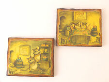 Vintage Mouse Decoupage Wood Plaque Picture Wall Art - Set of 2 Mice Love