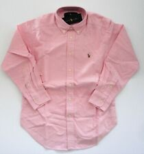 NWT Ralph Lauren Boys Long Sleeve Solid Pink Classic Oxford Shirt Sz 6 NEW $40