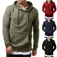 Men Sport Hooded Sweatshirt Pullover Long Sleeve Ripped Jumper Hoody T Shirt Top