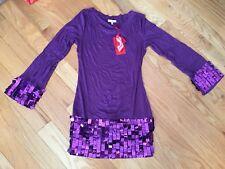 NWT Gigi Florence Purple Sparkling Long sleeve Dress Size M Style G2T109