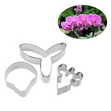 3X Butterfly Orchid Flower Cake Fondant Cutter Decoration Mold Sugarcraft Baking