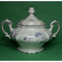 Blue Garland Johann Haviland Sugar Bowl Bavaria Germany Porcelain New