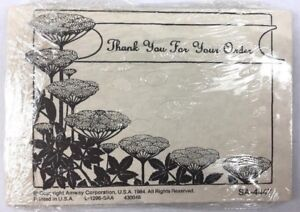 Art Nouveau Stationery Customer Insert Thank You For Order Flower Amway 1984 NOS