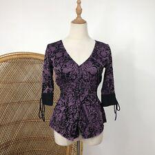 Premonition Top Size 8 XS/S Goth Purple Black Print