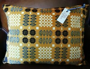 'Ruby Gingham' Mustard Yellow Velvet Welsh Blanket Design Cushion, BNWT