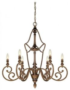 Chandelier 6-Light Steel Single Tier Dimmable Candle-Style Aged Brass Finish