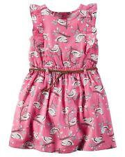 NWT Carters Girl Pink Blue Bird Ruffle Spring Summer Dress w/ Braided Belt 5 5T