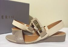 Aerin Salzer Cement Natural Taupe Leather Women's Wedge Heels Sandals Size 8.5 M