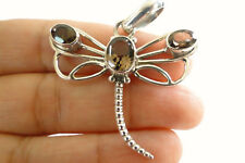 Brown Smoky Quartz Dragonfly 925 Sterling Silver Pendant