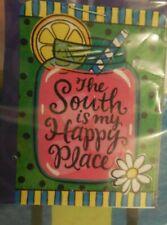 """The South is my Happy Place"" Mason Jar of Lemonade, Stripes, Summer House flag"