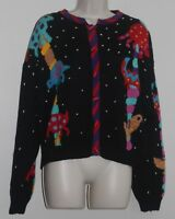 Christine Foley Sz 3 Animal Knit Cardigan Sweater Black Multicolor  100% Cotton
