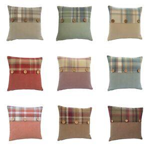 Highlands Skye Tartan Button trim multi colours sizes hand made UK cushion cover