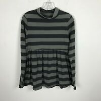 We The Free People Blouse Size S Black Gray Striped Long Sleeve Cotton Womens