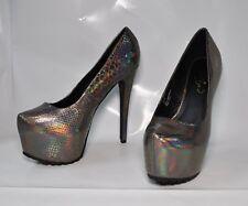 """Privileged """"Vixen"""" pewter metallic hi-heel platform pumps - Size 11, 6.5"""" heel"""