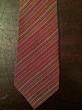"VTG Missoni Uomo 100% Silk Tie Colorful Chain Link Pattern Skinny 3"" Short 56.5"