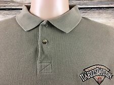 Harley Davidson Army Green USA Embroidered Polo Shirt Men's Large (L) EUC -A125
