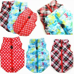 Winter Warm Small Pet Dog Jacket Vest Clothes Plaid Dots Puppy Cat Coat Costumes