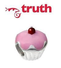 Genuine TRUTH PK 925 silver & enamel CHERRY CUPCAKE charm bead, cakes, baking