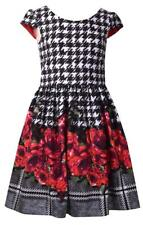 Bonnie Jean Short Sleeve Dress with Black and White Herringbone and Floral Print