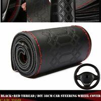 38cm Universal Genuine Leather DIY Car Steering Wheel Cover Black & Red Thread