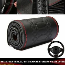 38cm Universal Genuine Leather DIY Car Steering Wheel Cover Black & Red Thread